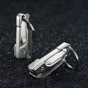 Image 3 - 304 ステンレス鋼車のキーチェーンベルトウエストぶら下げシンプルな高品質男性キーホルダーバックルキーリングホルダー父の日ギフト