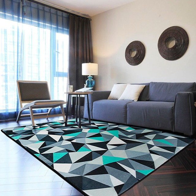 Blue And Grey Rug 100 150cm Modern Geometric Alfombra For Living