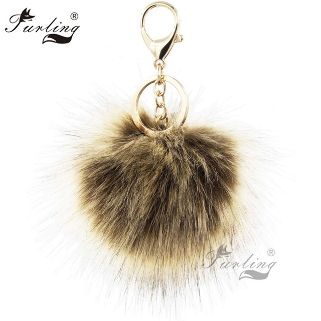 Furling Wholesale Pack of 12 PCS Gold Plating Key Chain with 10CM Faux Fox  Fur Pom Poms Key Ring Bag Charm Accessories bc1779afd36a0
