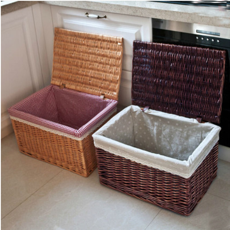 Storage-Basket Clothing Baby Household Large XXL Wicker With Lid Rattan Wasmand Handwoven