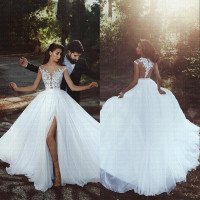 Dubai Arabic Beach Cheap Wedding Dress 2019 Split Side Vestido De Noiva Cap Sleeves Robe De Marriage Bridal Gowns