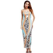 2017 New Women Casual Beach Dresses Sexy O-neck Slim Leopard Print Sleeveless Summer Maxi Dresses Bodycon Party Wear Vestidos