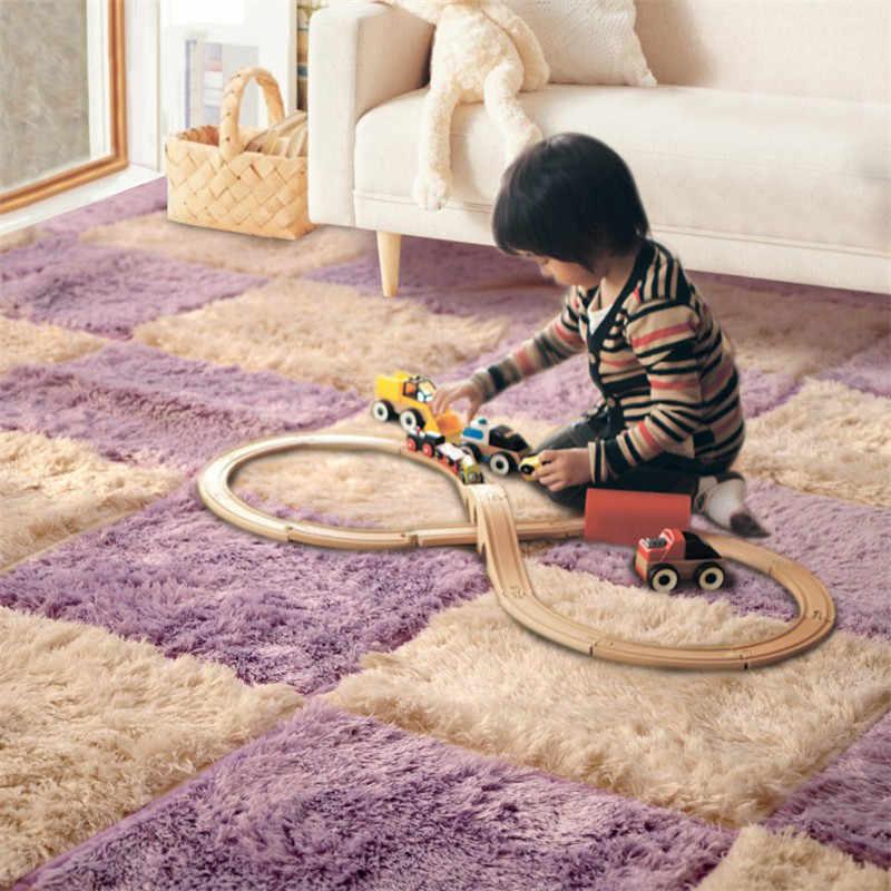 Diy tapetes de cabelo longo área macia tapetes crianças quarto tapete de jogo macio velcro costura retalhos escalada bebê verde e tapete
