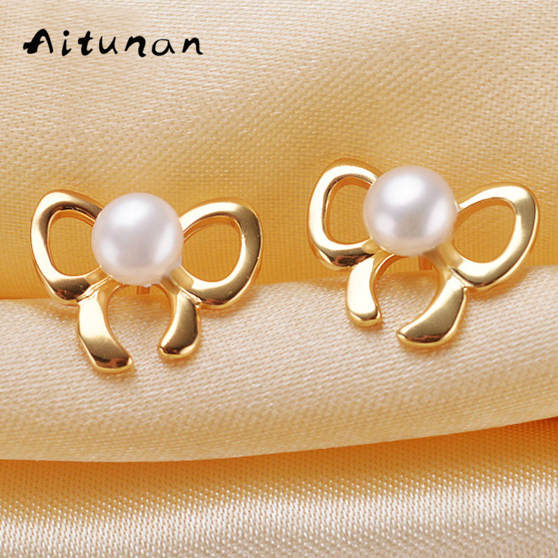 Buy Aitunan New Butterfly Shape Women Luxury Gold Color Real Natural Freshwater Pearl Silver Stud Earring For Women Fashion Jewelry