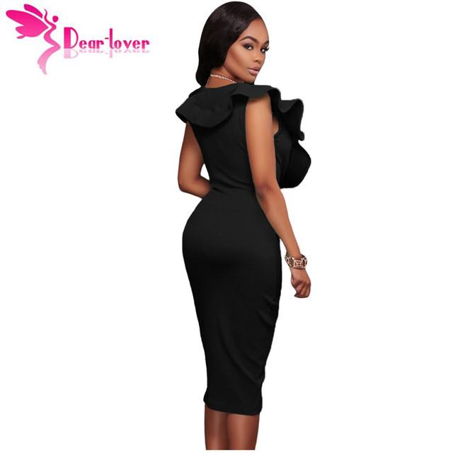 Dear-Lover Women Summer Sleeveless Dress Sexy Solid Turquoise Ruffle V Neck Bodycon Midi Tight Wrap Party Dress Vestidos LC61474