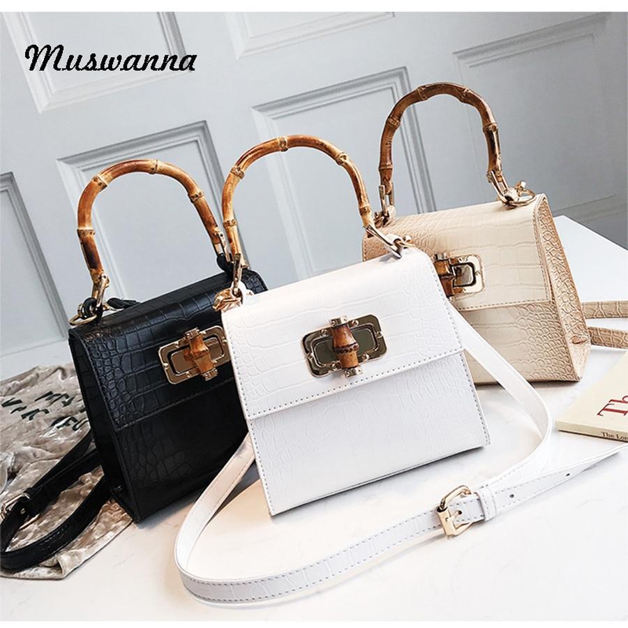 Luxury Crocodile Women Handbag Bamboo Top Handle Bags Designer Lock Crossbody Shoulder Bag Small Flap Bag Purse Bolso Femenino
