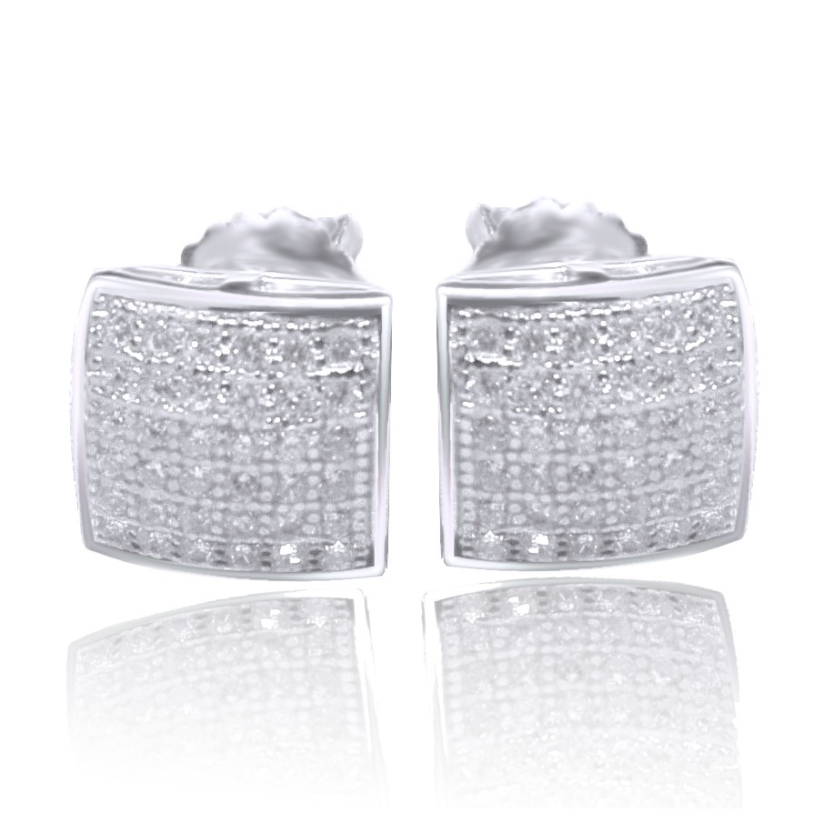 Square Princess CUT STUD EARRINGS SCREW BACK 14K WHITE GOLD OVER SILVER все цены