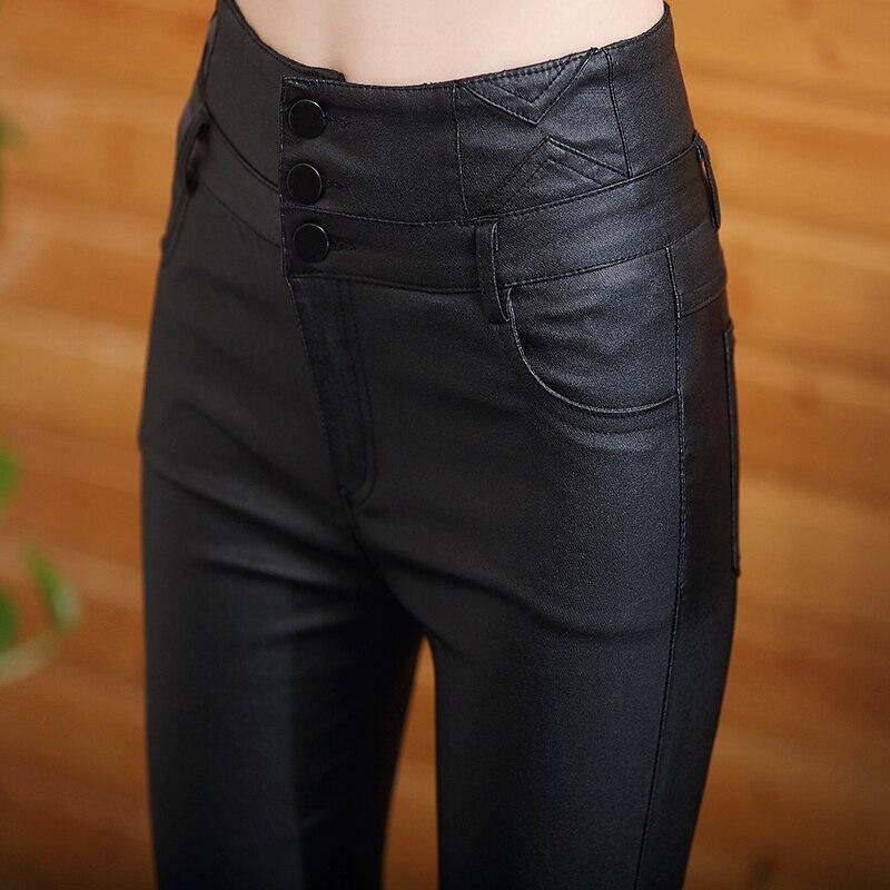 2019 nouveau automne hiver taille haute en cuir harem pantalon noir plus velours leggings tenue de femme petits pieds pantalons skinny pantalon - 3