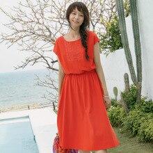 Women Cotton Elastic Waist Dresses
