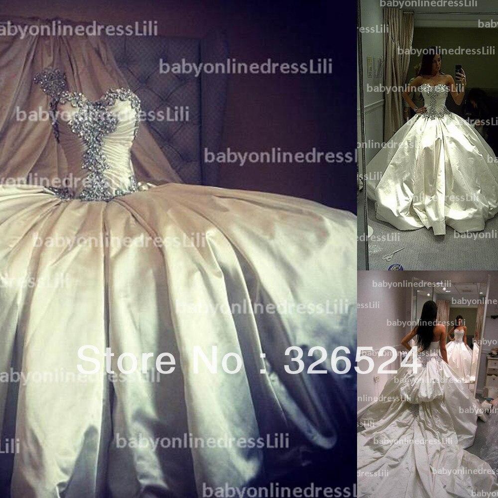 Aliexpress New Arrival Vestido De Noiva Ball Gown 2017 Sweetheart Crystal Luxury Wedding Bridal Dress Bo3110 From