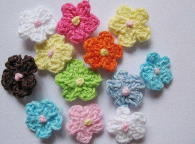 200 PCS/lot wholesale Crochet Spring Flower, DIY Applique Trim Decorations,for clothing,bags,hair accessories