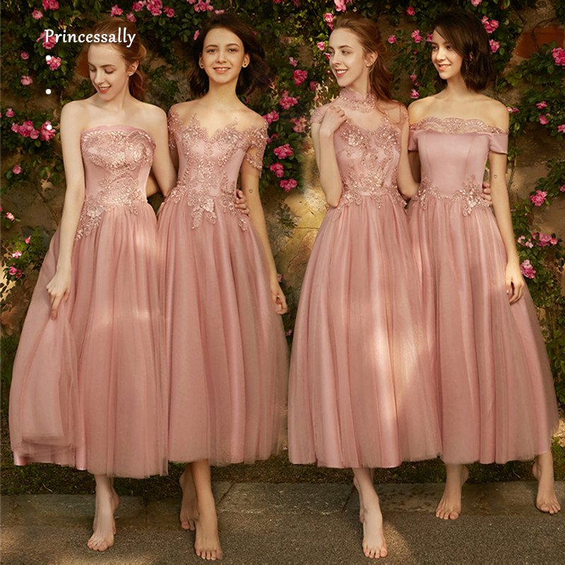 new concept choose best factory price US $47.5 5% OFF|Robe De Soriee New Dusty Rose Bridesmaid Dress LaceTea  Length Embroidery Elegant Simple Vintage Formal Wedding Party Prom Gown-in  ...