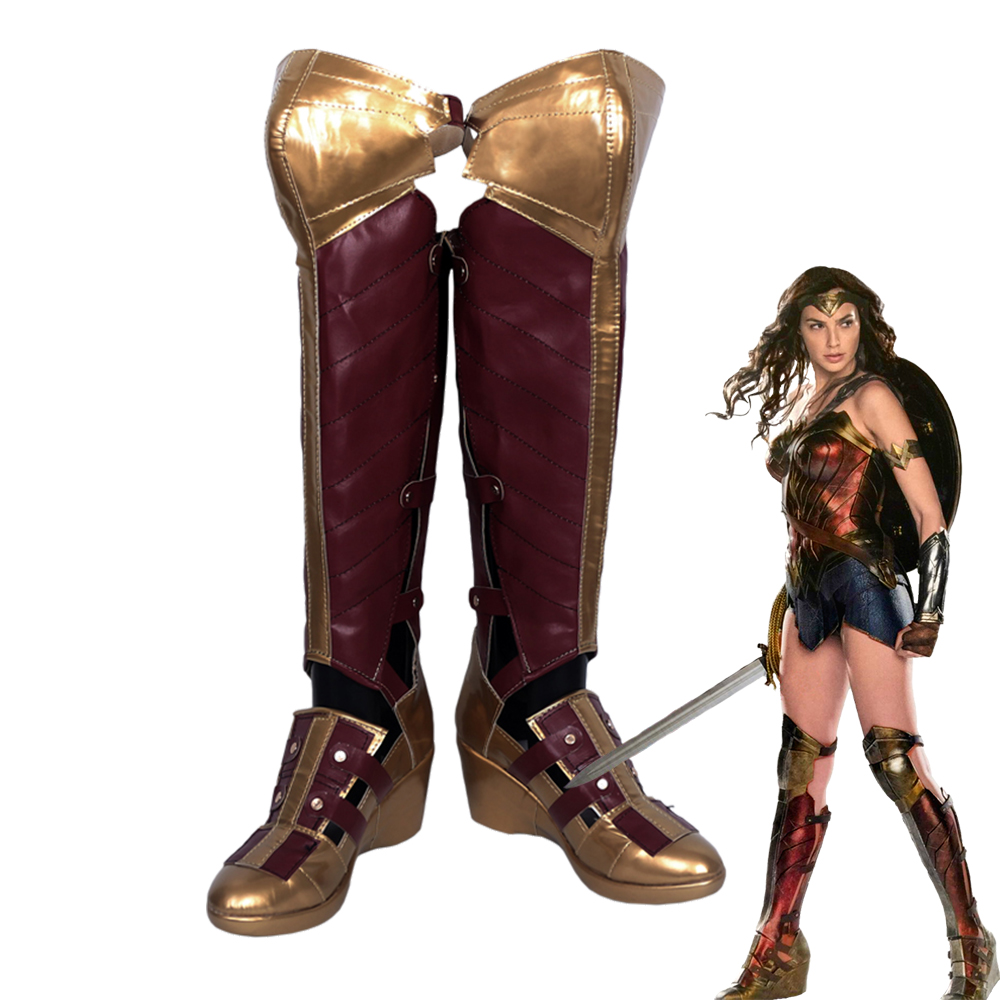 Wonder Woman Diana Prince Long Boots Cosplay Shoes Customized Size