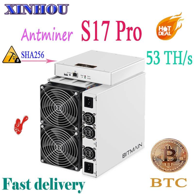 Mais novo AntMiner S17 Pro 53TH/s SHA256 7nm BCH mineiro Asic Bitcoin BTC Mineração Melhor do que S11 S9 S15 t15 M3 M10 E10 T2T T3 baikal