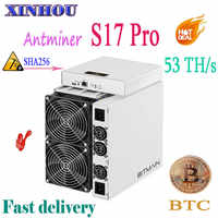Newest AntMiner S17 Pro 53TH/s SHA256 7nm Asic miner BCH BTC Bitcoin Mining Better than S11 S9 S15 T15 M3 M10 E10 T2T T3 baikal