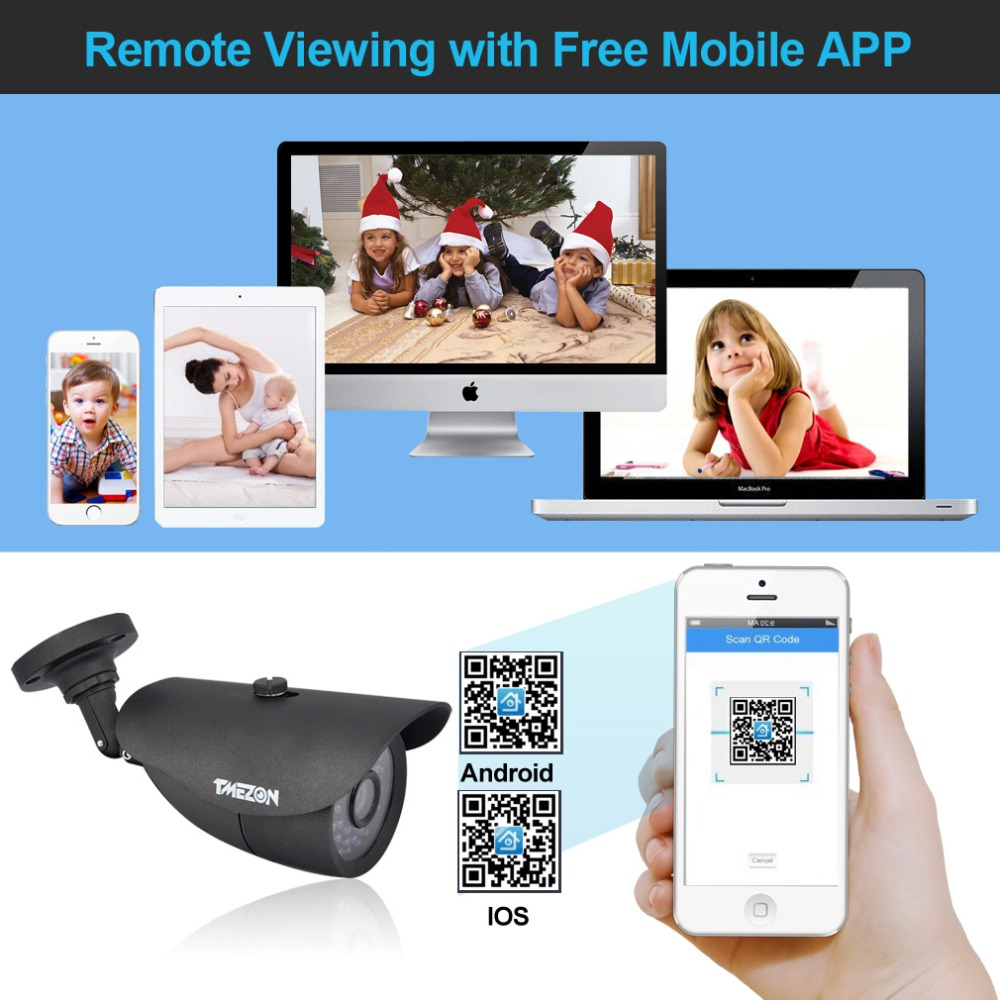Tmezon AHD 8CH 1080P DVR 8pcs 2.0MP 1080P Camera Security Surveillance CCTV System Auto IR-Cut Night Vision 30meter 1TB 2TB Kit