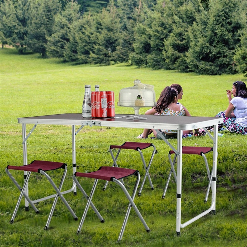 Aluminum Folding Camping Table With 4Chairs Design Umbrella Hole No Installation Needed Outdoor Folding Table Set Picnic OP3578