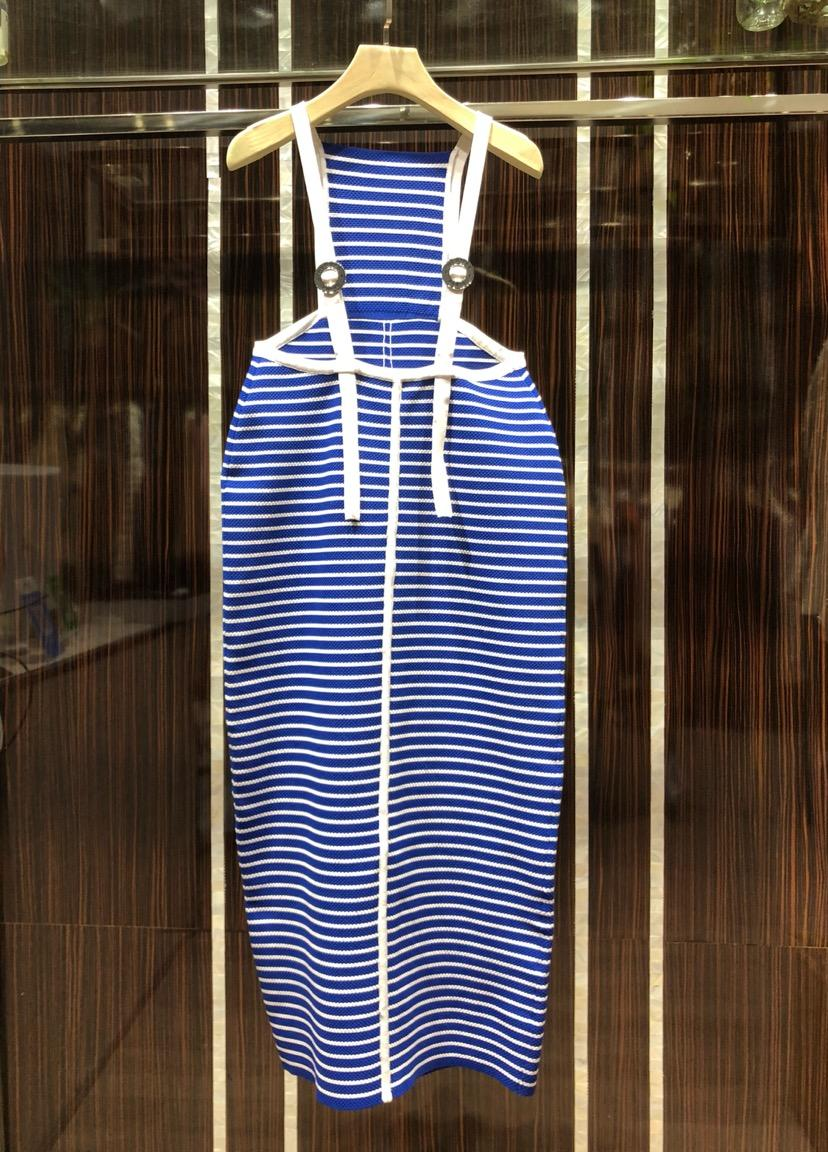 2019 new ladies summer personality fashion striped strap women s dress 0330