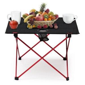Image 2 - طاولة قابلة للطي محمولة نزهة كائدة طعام للهواء الطلق خفيفة سوداء عالية الجودة طاولة مكتب 7075 طاولة تخييم سبائك الألومنيوم