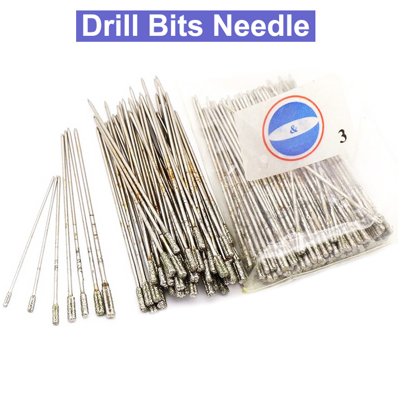 10pcs 1.0/1.2/1.4/1.7/1.8/2.0/2.3mm Diamond Drill Bit Set Hole Drill Bits Needle Jade Stone Jewelry Ceramic Glass Power Tools
