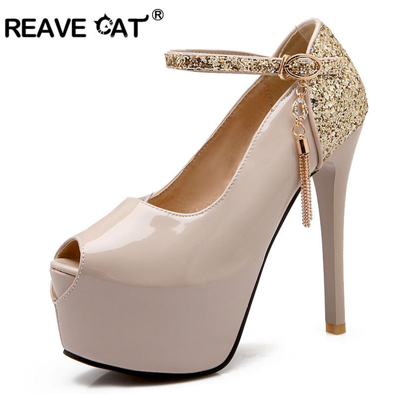 Aliexpress Buy REAVE CAT Big Size 34 42 Women Pumps Shining Belt Mary Jane Party Wedding Shoes Woman Metallic Chains High Heels Platform A233 From