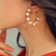 Handmade Irregular Pearl Twist Hoop Earrings For Women 2019 New Simple Round C Shaped Casual Party Jewelry