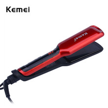 Promo offer Kemei Iron Ceramic Hair Straightener Professional Hair Curler Digital Temperature Control  Flat Iron LCD Display Straightening