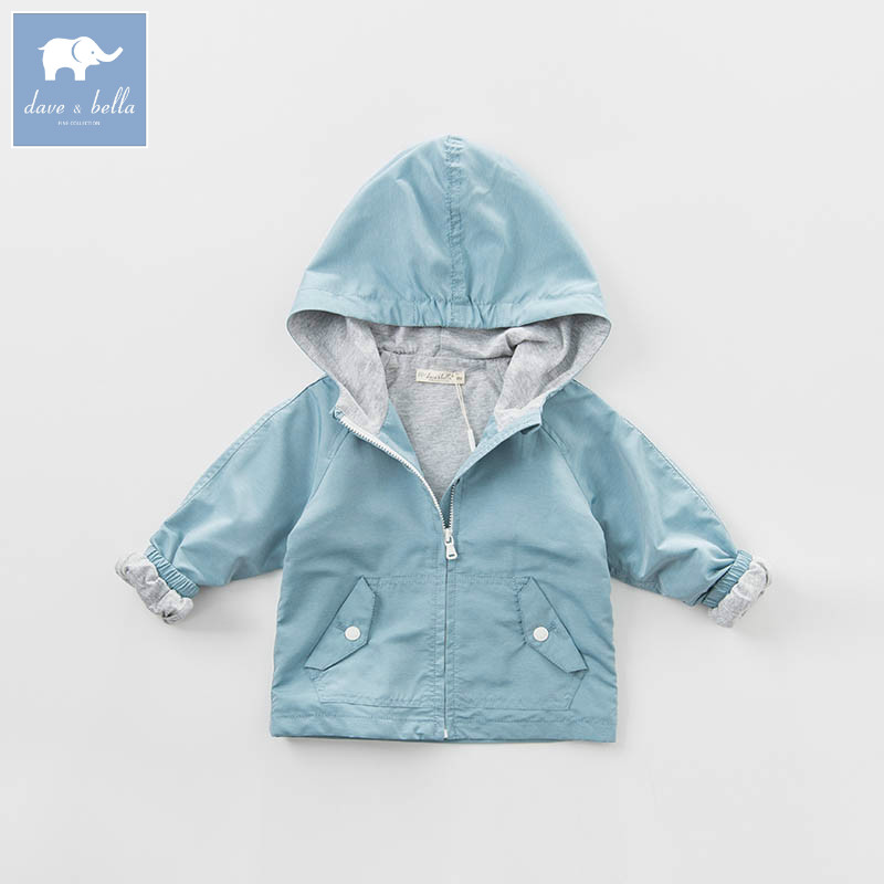 DB6948 dave bella spring infant baby boys fashion hooded coat kids toddler children hight quality clothes