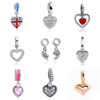 New arrival 925 Sterling Silver Heart Shape charms Fit Original Pandora beads Bracelet Authentic DIY Jewelry pendant Gifts