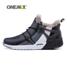 Onemix Mens Winter Boots Suede Leather Sneakers Hairy Outdoor Warm Durable Running Shoes Sport freeshiping
