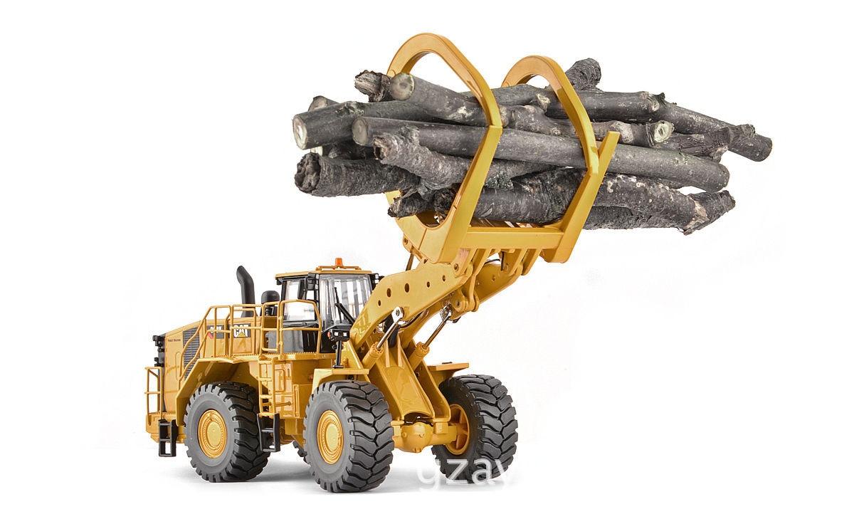 1:50 Cat Alloy Engineering Car 988K Wheel Loader with Grabber Wood Loader Model 23.5*7.5*8CM wheeled loader