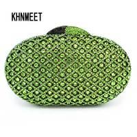 LaiSC Green Crystal Clutch Bags Luxury Diamond Clutch Evening Bag Women Pochette Oval Shape Wedding Sac