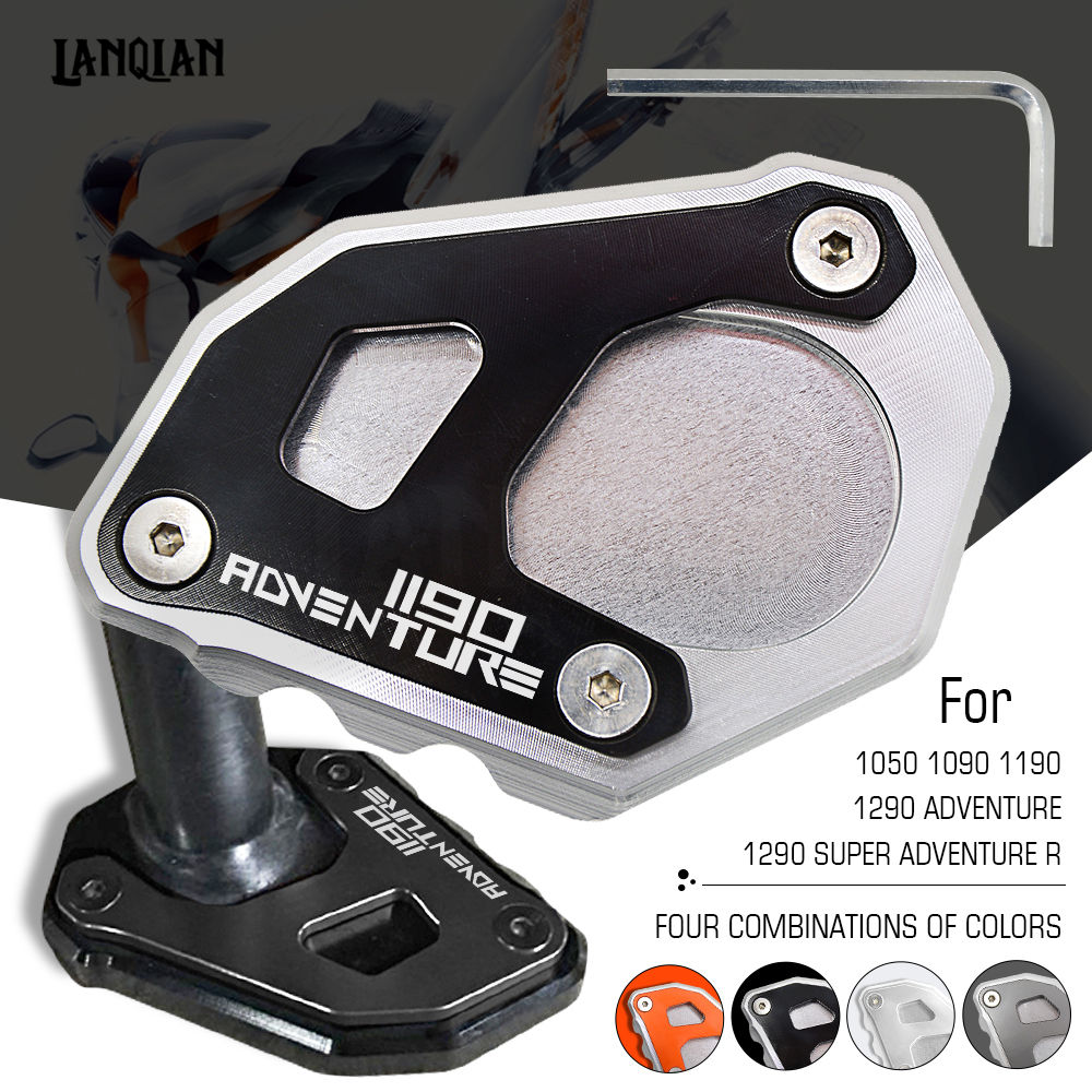 For KTM 1190 ADV Motorcycle Kickstand Side Stand Plate Pad Enlarge Extension For KTM ADVENTURE 1190 2013 2014 2015 2016 2017 for bmw f800r 2009 2012 2013 2014 hp2 08 motorcycle cnc aluminum side stand enlarger cnc kickstand pate pad side stand enlarger