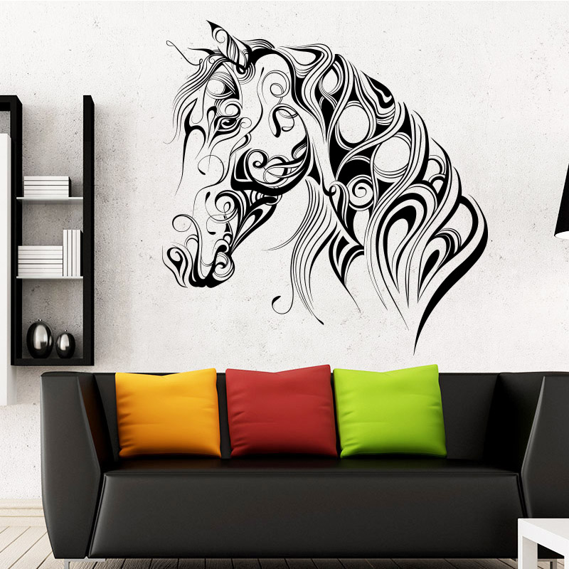 Muyuchunhua Abstract Horse Wall Sticker Beauty of Lines for Living Room Bedroom Home Decoration Wallpaper Home Mural Stickers