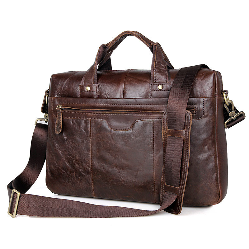 Nesitu High Quality Vintage Coffee Genuine Leather Men Messenger Bags 14'' Laptop Male Briefcase Office Portfolio M7075