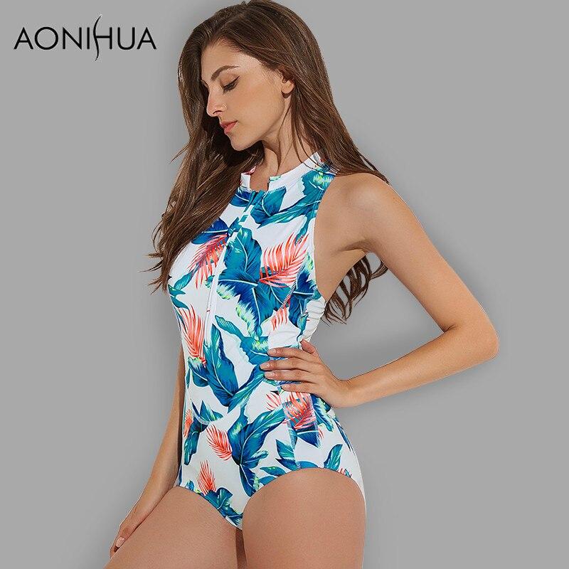 Women Slope Neck Sleeveless Solid Ruffle Monokini Swimwear