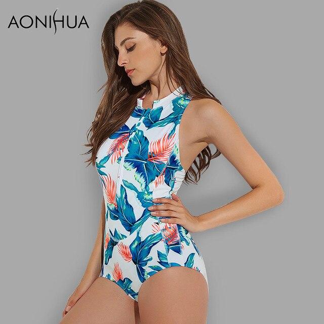 bf516fedb09a3 AONIHUA Women Swimsuit Vintage Retro Sleeveless Halter Bodysuit Female  Summer Swimming Beach Bathing Suits 1 One