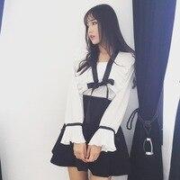 Daily special Korean Edition, women's organ, pleated horn sleeve, lotus leaf chiffon shirt, bow tie, shirt girl.