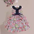 New born impressão floral do bebê meninas vestido listrado flor cinto de seda vestidos para festa vestido de festa 6M-5Y