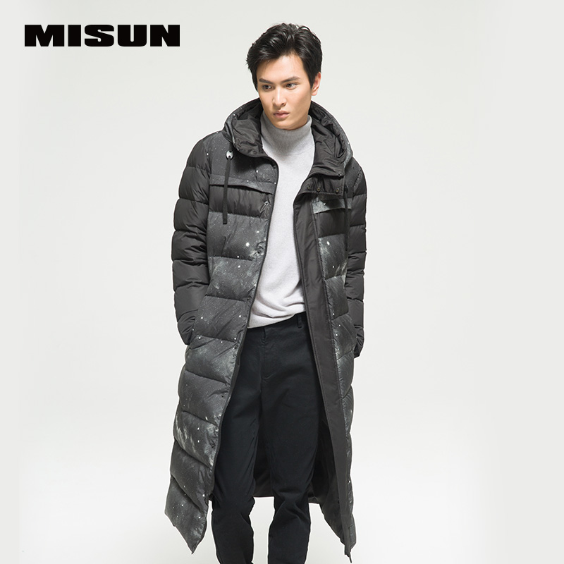 Misun print patchwork long paragraph ultra slim thickening down coat men jacket 2017 new arrival winter and autumn