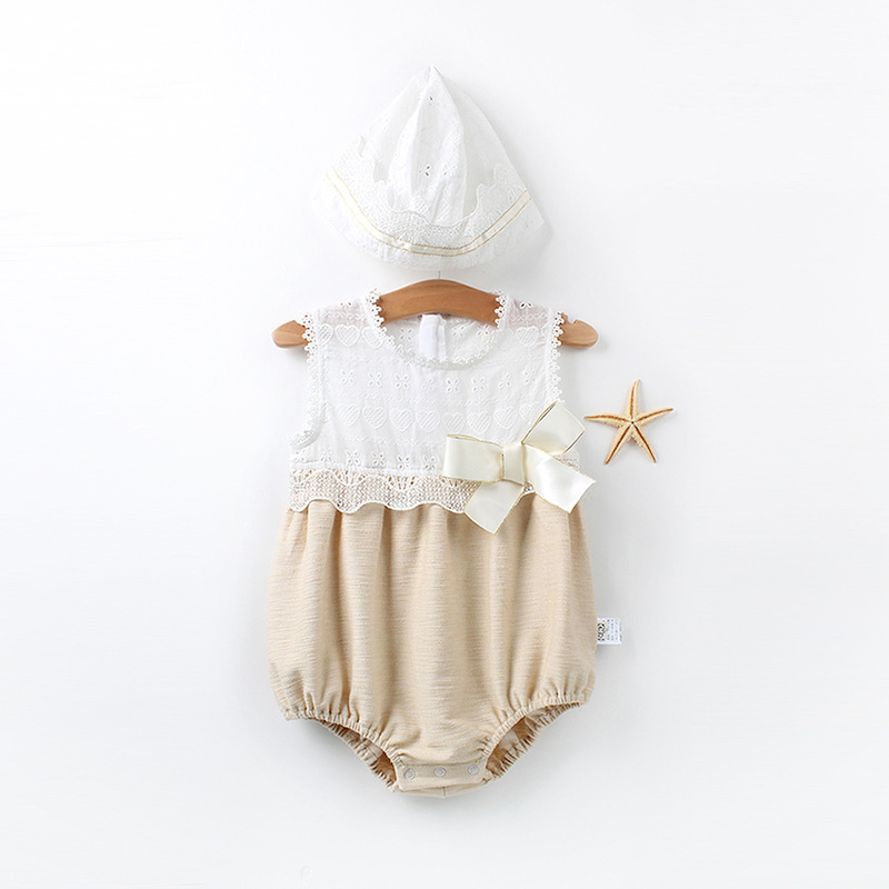 Baby   Romper   Vintage Style Baby Girls Playsuit Lace Bow Floral Baby Patchwork White   Rompers   with Hat 2pcs Suit Baby Girl Clothes