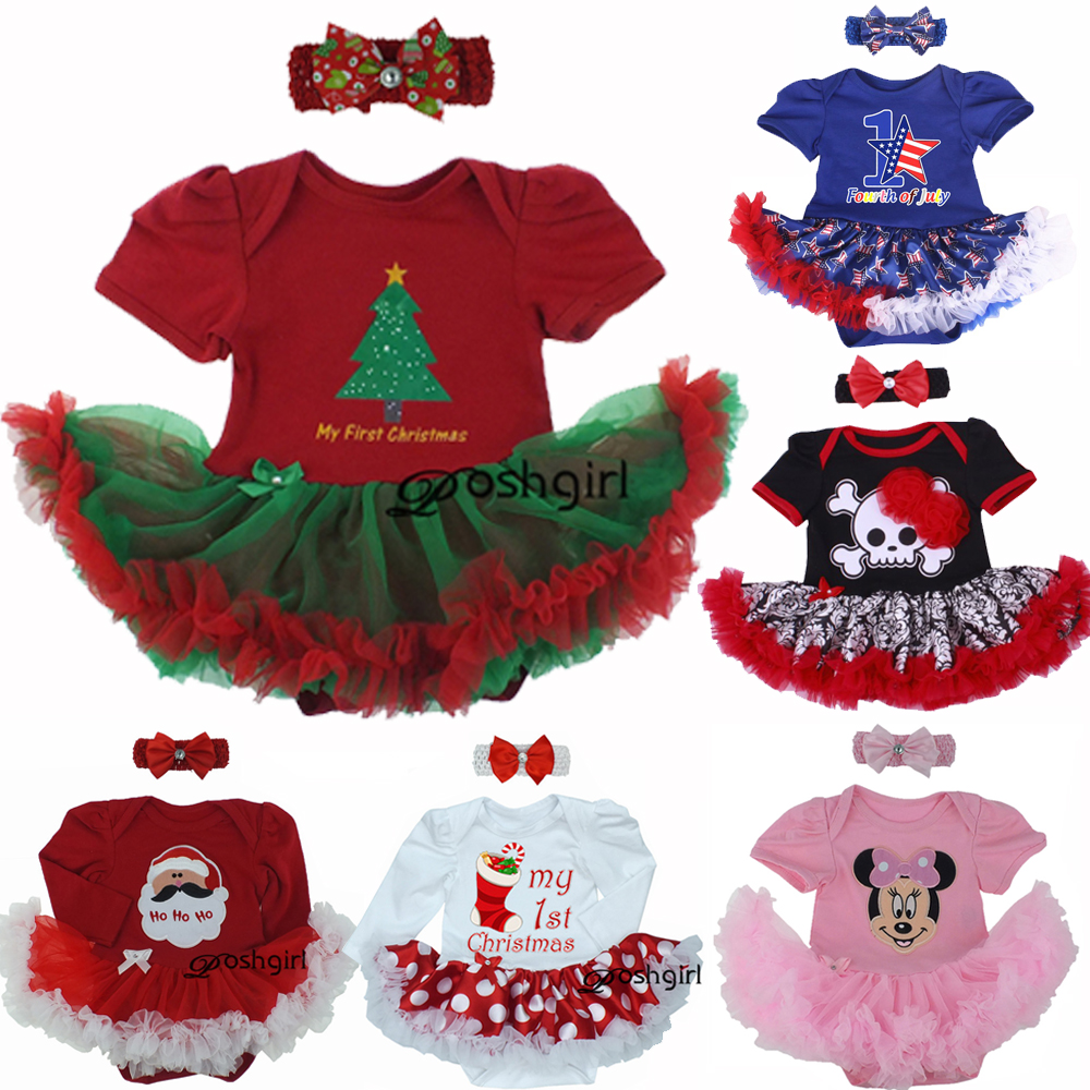 New Baby Girl Clothing Sets Infant Christmas Gifts Lace Tutu Romper Dress Jumpersuit+Headband 2pcs Bebe First Birthday Costumes baby girls infant love applique tutu set baby lace romper dress crib shoes headband 3 piece newborn baby girl clothing set bebe