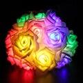 Múltiples Colores de Vacaciones de Iluminación LED Luz de la Secuencia de 20 LED Rose Flores 2 M de Hadas de Luz Para El Banquete de Boda de Navidad Decoración