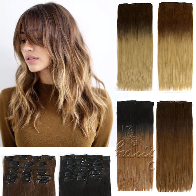60cm 7pcs Clip In 16 Clips Dip Dye Ombre Hair Extensions Straight