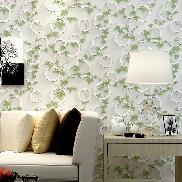 Modern Stereo Fashion Minimalist Wallpaper Green Leaves Circle Non Woven Living Room Bedroom
