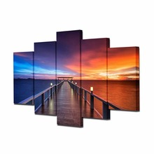 5 pieces framed Wall Art Picture Gift Home Decoration Canvas Print painting beautiful sea Sunset wholesale HX-007