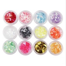 12 Colors/set Crushed Sea Shell Paper For Nails UV Acrylic Powder 3D Nail Art Decoration Nail Glitter Powder For Nails