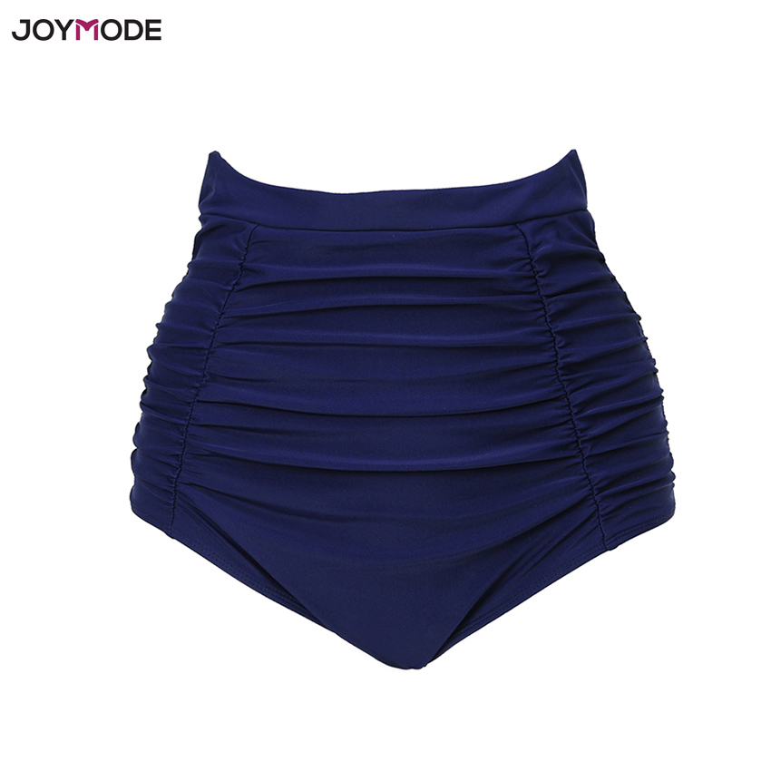 3281c73cef254 JOYMODE 2018 New Women High Waist Navy Swimsuit Ruffle Bottoms Bikini  Swimwear Sexy Swimming Briefs Bathing Suit Ruched Shorts-in Two-Piece  Separates from ...
