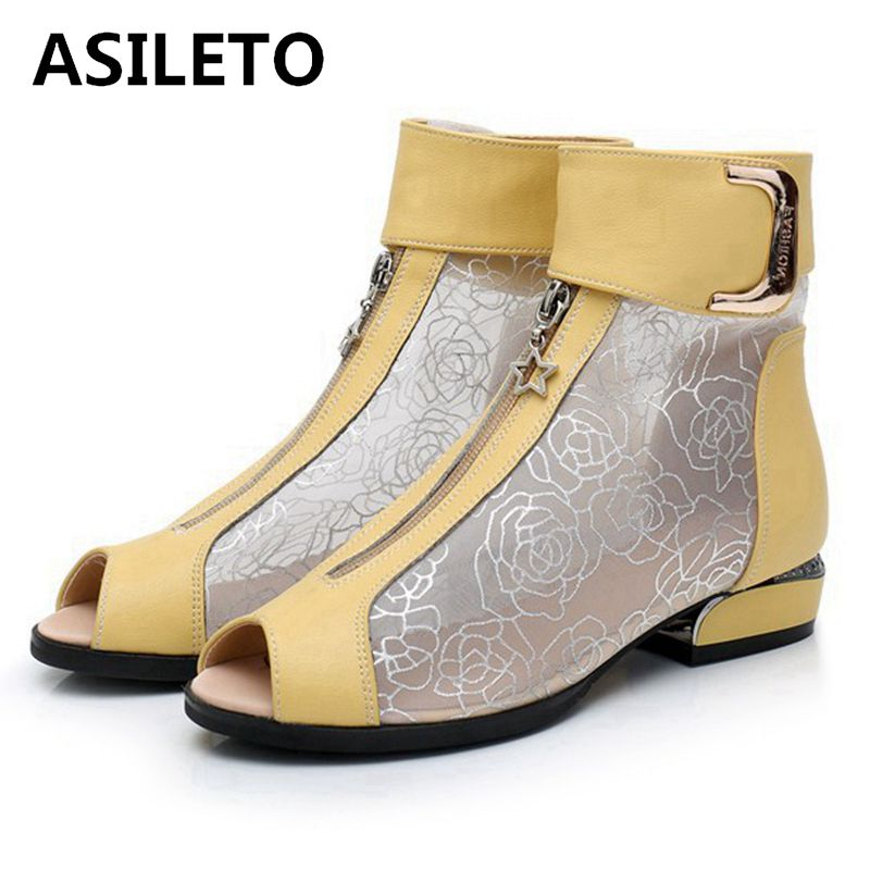 ASILETO cut out white Summer elegant ankle boots women mesh floral hollow peep toe ladies shoes flat boots zipper metal shortASILETO cut out white Summer elegant ankle boots women mesh floral hollow peep toe ladies shoes flat boots zipper metal short