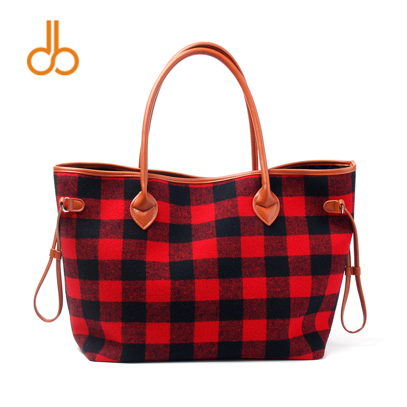 Wholesale Domil Endless Plaid Large Woman Tote Bag Fashion Flannel Buffalo Check Handbag Tartan Check Pattern Tote Bag DOM103377 tartan